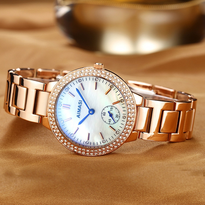 AIMASI 9012 Female Exquisite Watch with Stainless Steel Band WHITE
