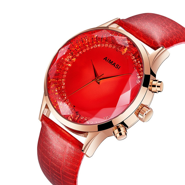 AIMASI 9013 Female Exquisite Watch with Genuine Leather Band RED