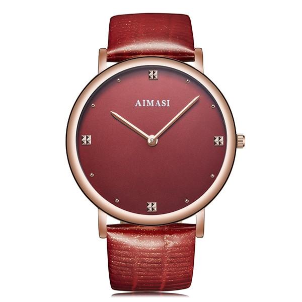 AIMASI Literal Elegant Leather Strap Quartz Watch for Women RED