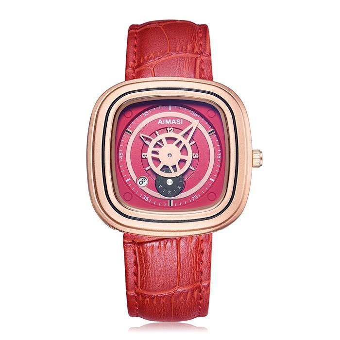 AIMASI Unique Charm Square Leather Strap Quartz Watch for Women RED