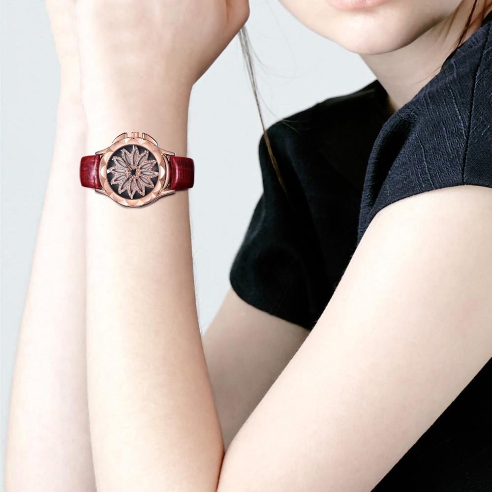 AIMASI 9021 Trendy Genuine Leather Band Women Quartz Watch RED