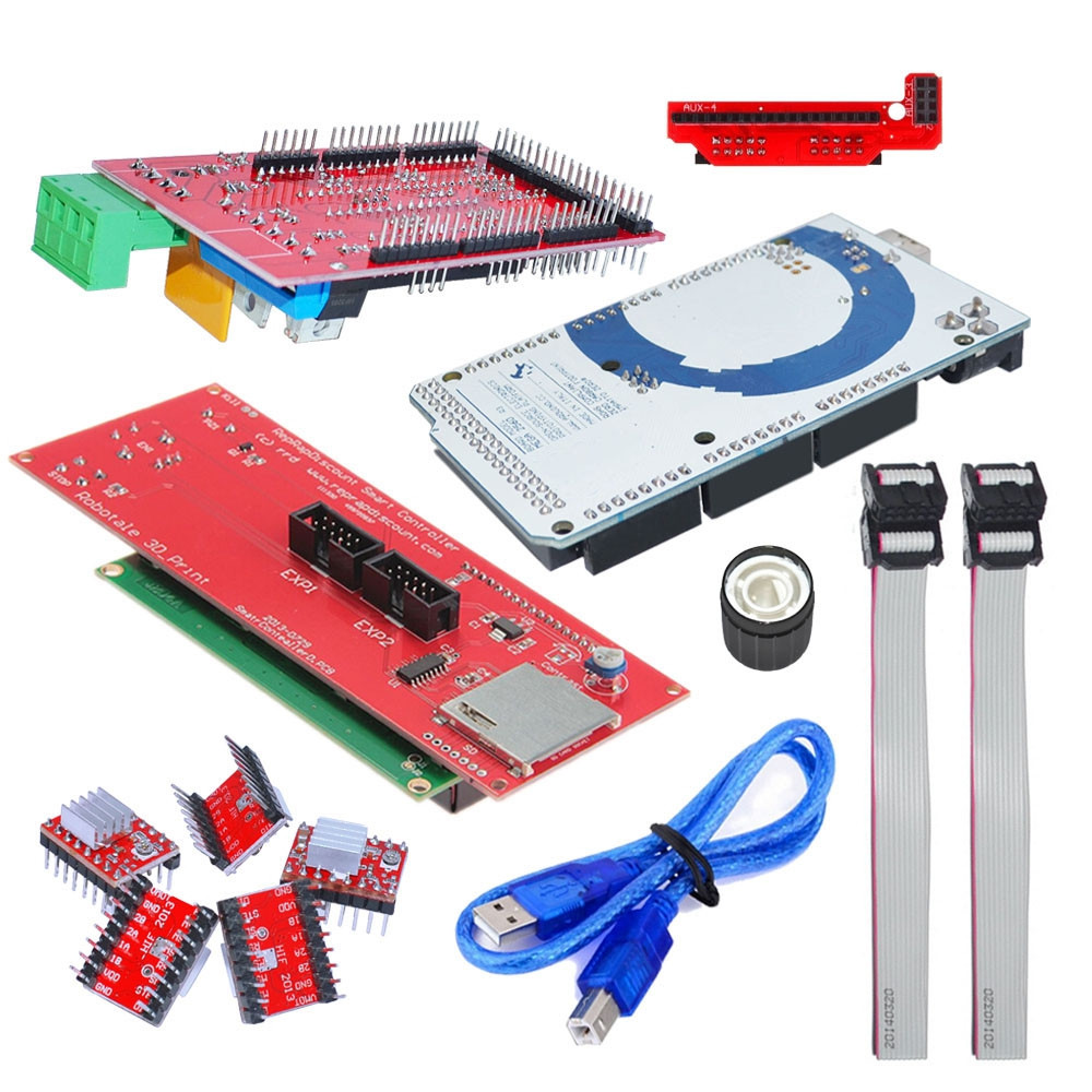 3D Printer Kit Ramps 1.4 Control Board + Mega 2560 R3 Panel + A4988 Driver Plate with Heatsink + 2004 LCD Display Screen