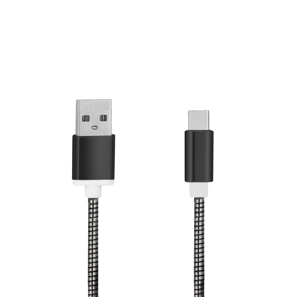Minismile 3.4A Stainless Steel Spring Quick Charge Type-C Usb 3.1 To Usb Charging Cable with High-Speed Data Transmission (24cm)