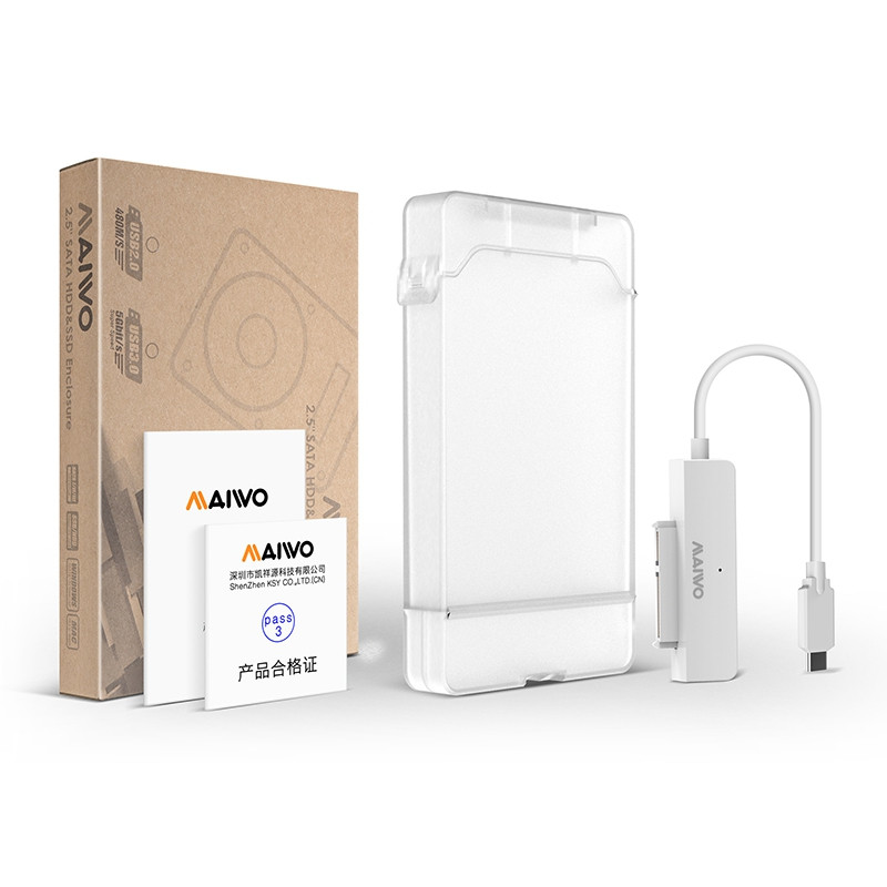 Maiwo K104c 2.5 Inch Usb 3.1 Type-C Hard Drive Enclosure White