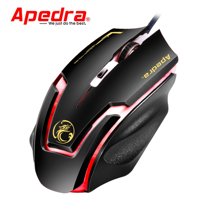 Apedra A9 Wired Gaming Mouse Macro Definition Programming Four-Color Breathing Light Electrical Weight