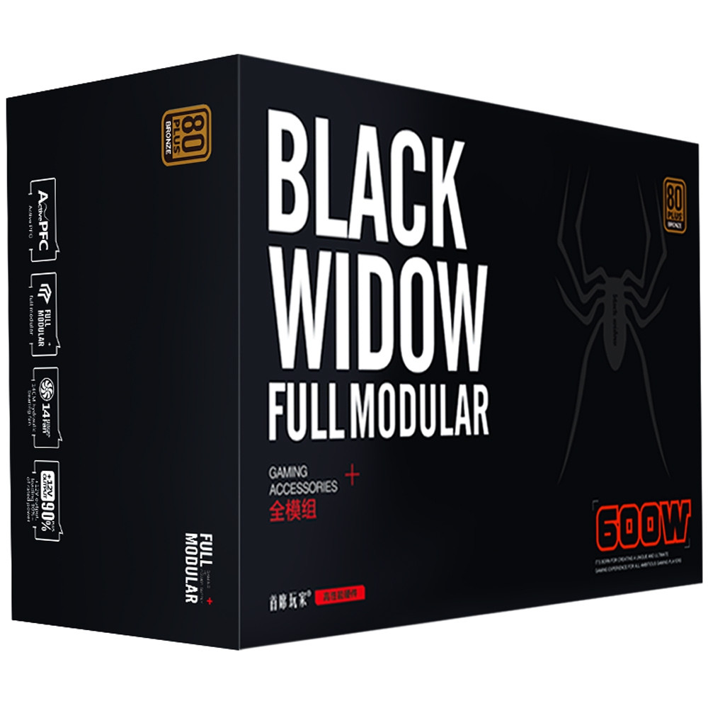 1STPLAYER Black Widow 600W Power Supply Full Range Input Full Modular 80PLUS Bronze Dual CPU