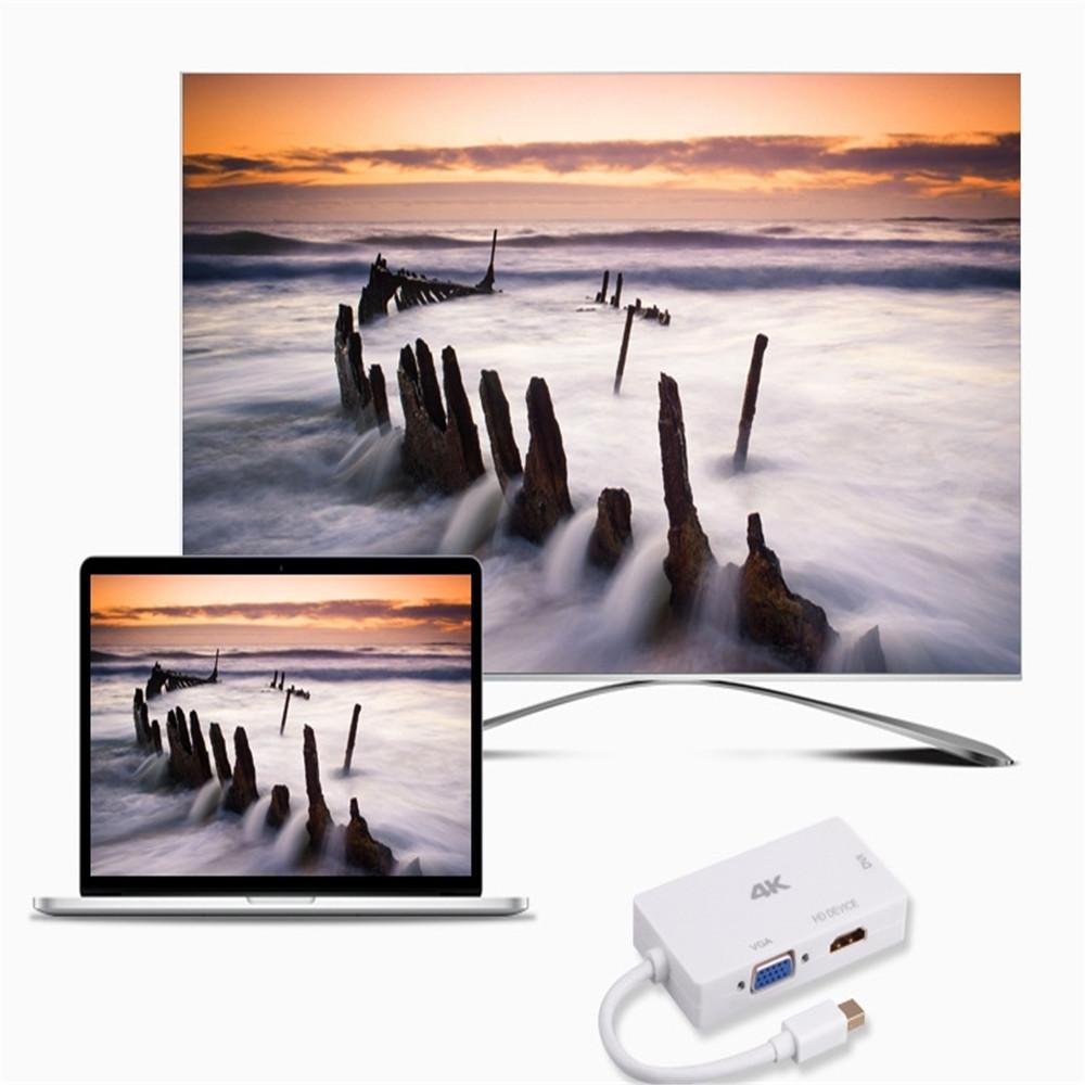 Mini DP to HDMI + VGA + DVI True 4K One - Three Video Converter