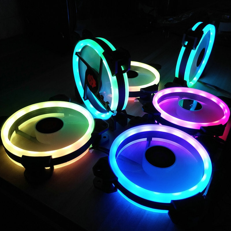 120mm Adjustable RGB LED Light Computer Case PC Cooling Fan with Remote