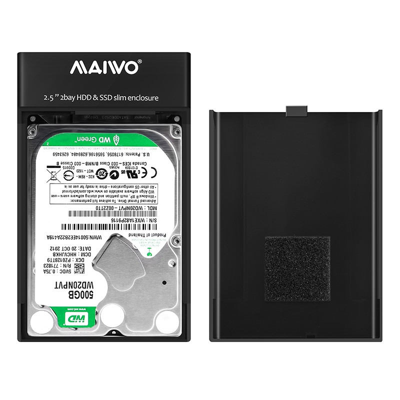 Maiwo K25682 2 Bay 2.5 inch SATA HDD USB Raid Enclosure Storage