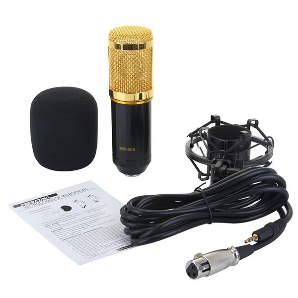 BM-800 Condenser Sound Recording Microphone and Plastic Shock Mount for Radio Broadcasting Studio Voice Recording