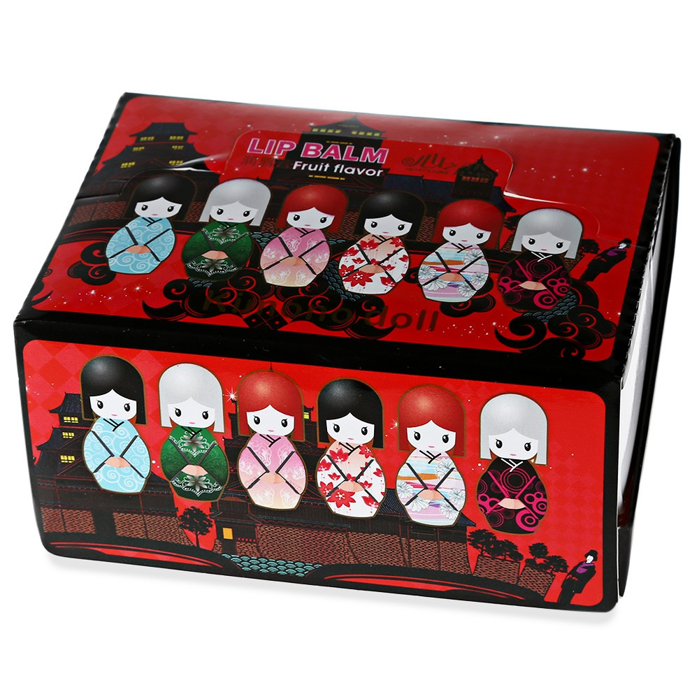 24pcs Magic Waterproof Cartoon Kimono Doll Lip Balm Moisturizing Lipstick COLORMIX
