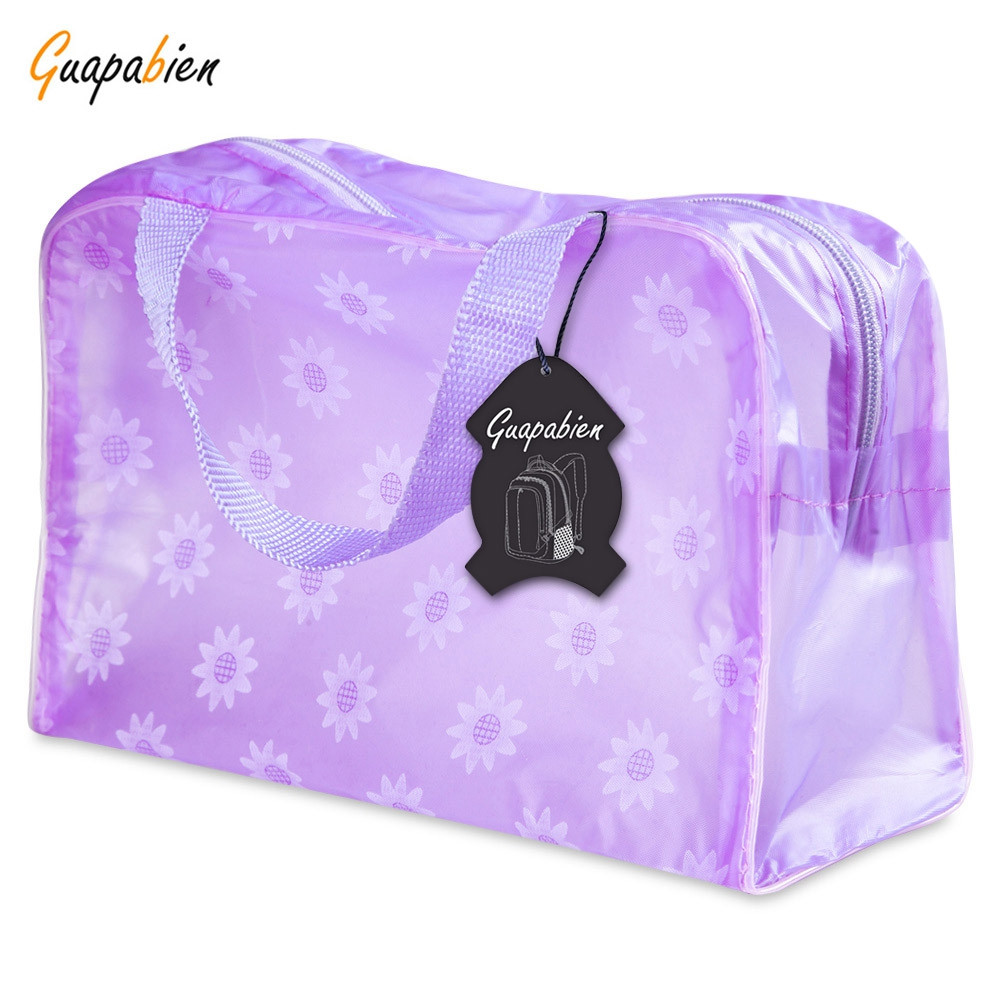 Guapabien Lovely Printed Practical Convenient Waterproof Translucent Bath Wash Bag PURPLE