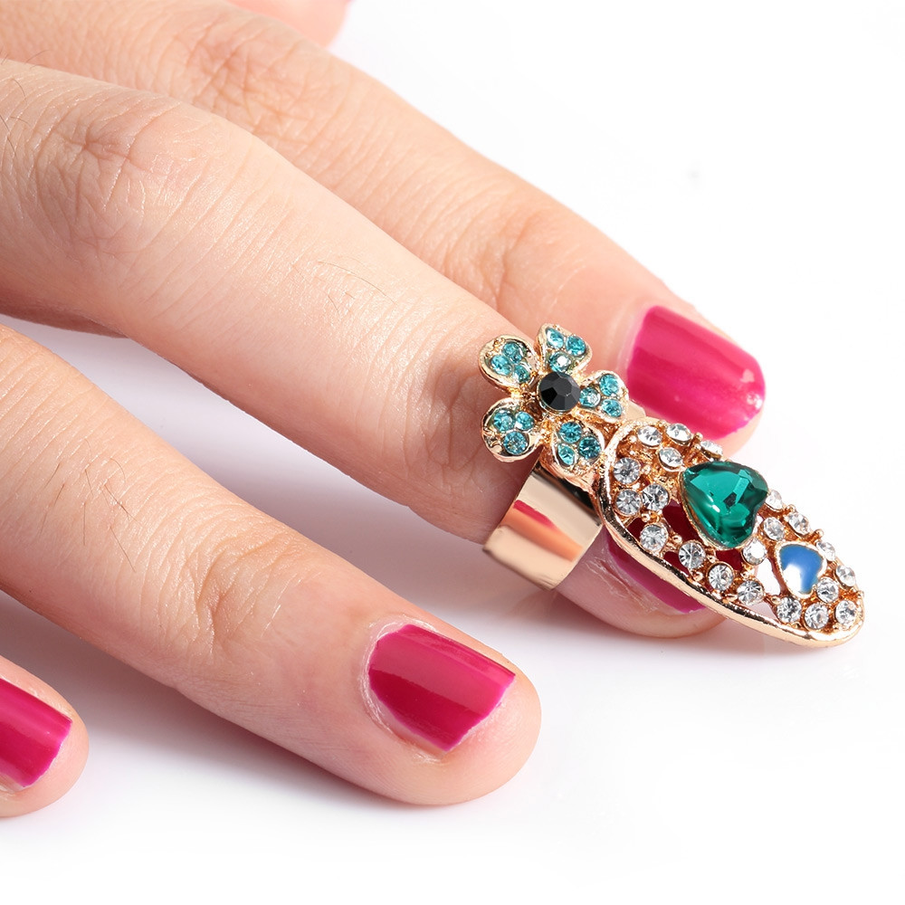 Female Jewelry Decorative Joint Drill Bow Crown Armor Nails Ring JADE GREEN