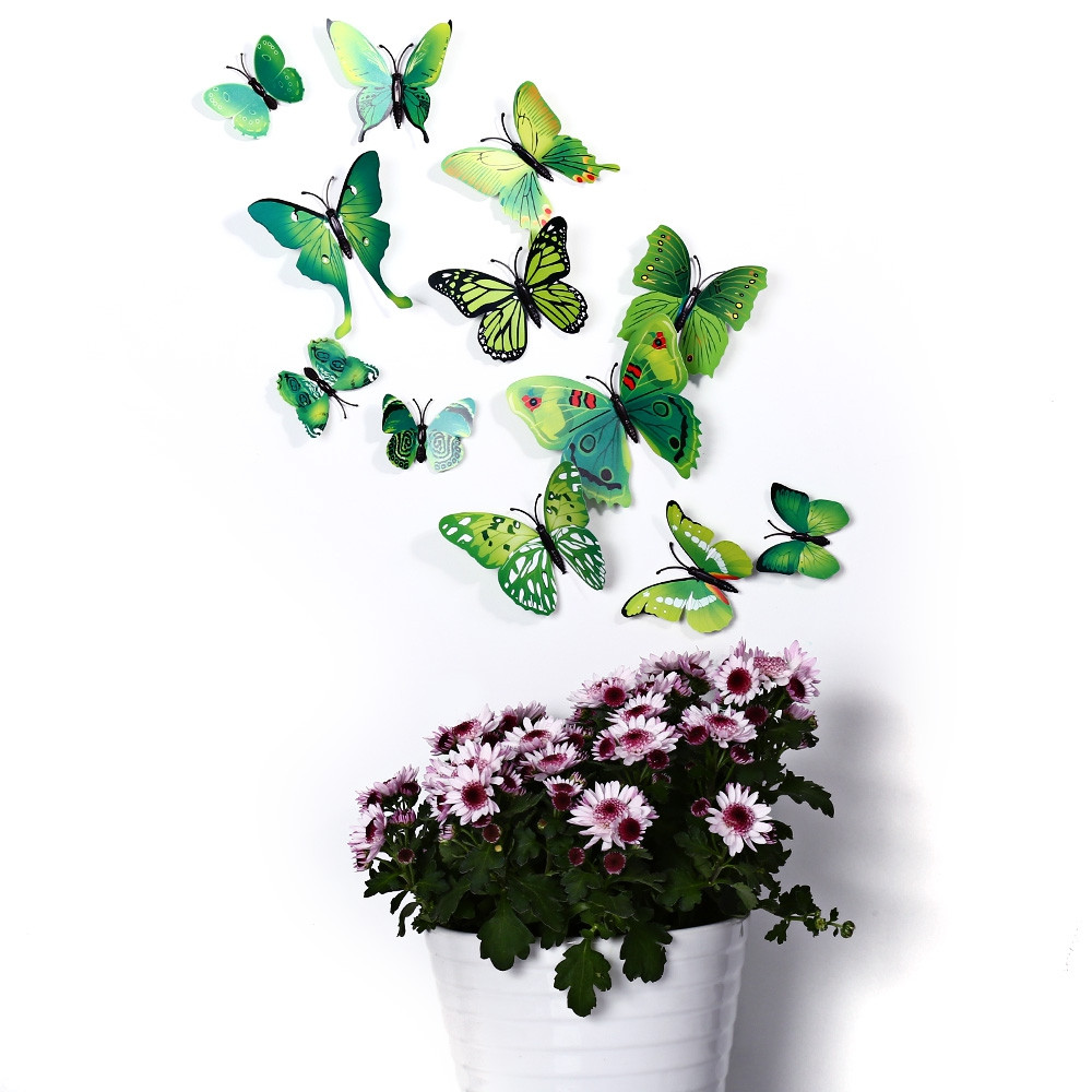 3D Butterfly Wall Stickers Decor Art Decorations GREEN