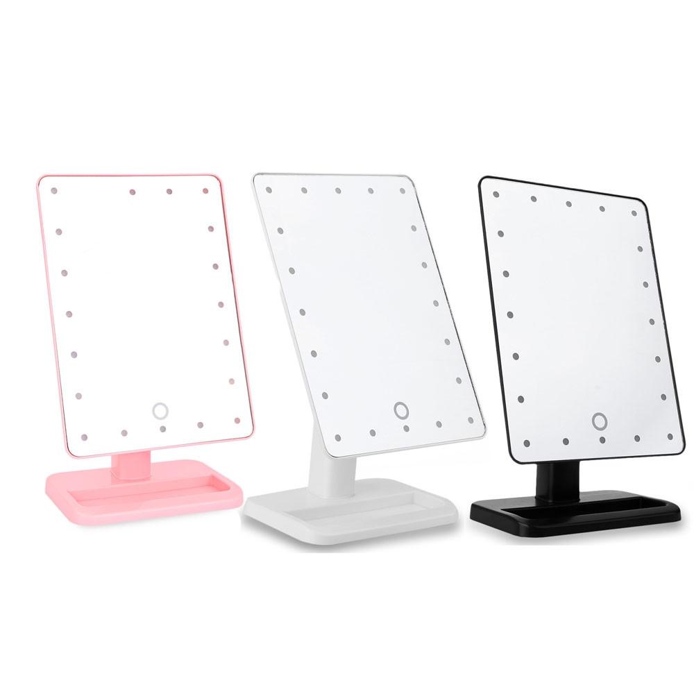 Portable Table 20 LEDs Lamp Luminous 180 Rotating Mirror WHITE