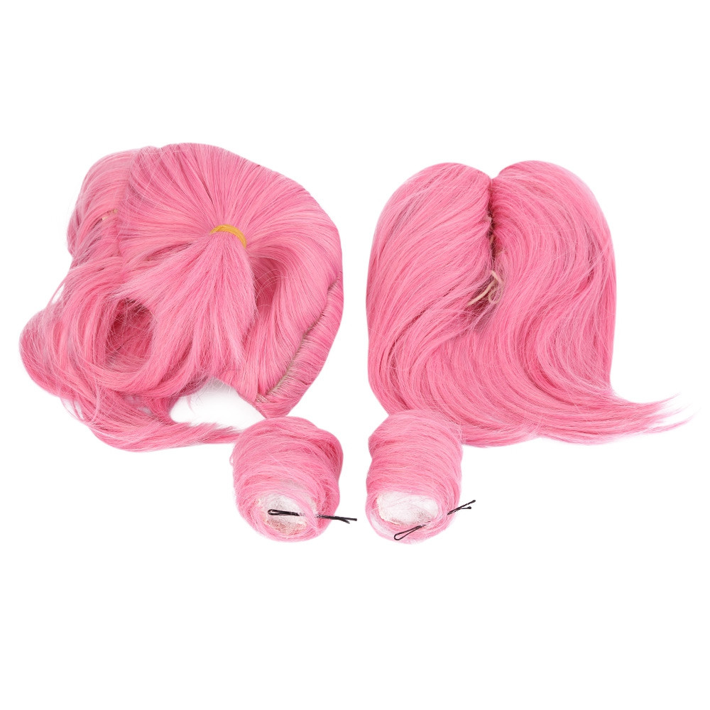 Women Split Type Medium Pink Wigs with 2 Ponytails Double Bun Hair Anime Cosplay for Sailor Moon Chibi Usa Figure PINK