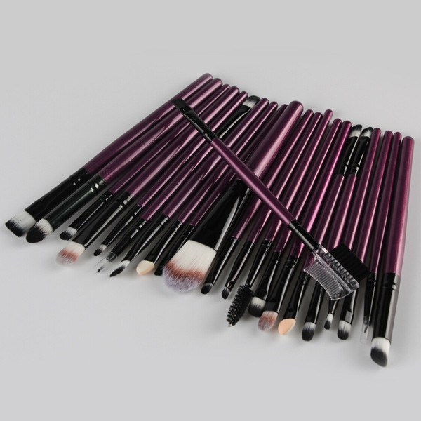 22 Pcs Nylon Eye Lip Makeup Brushes Set PURPLE