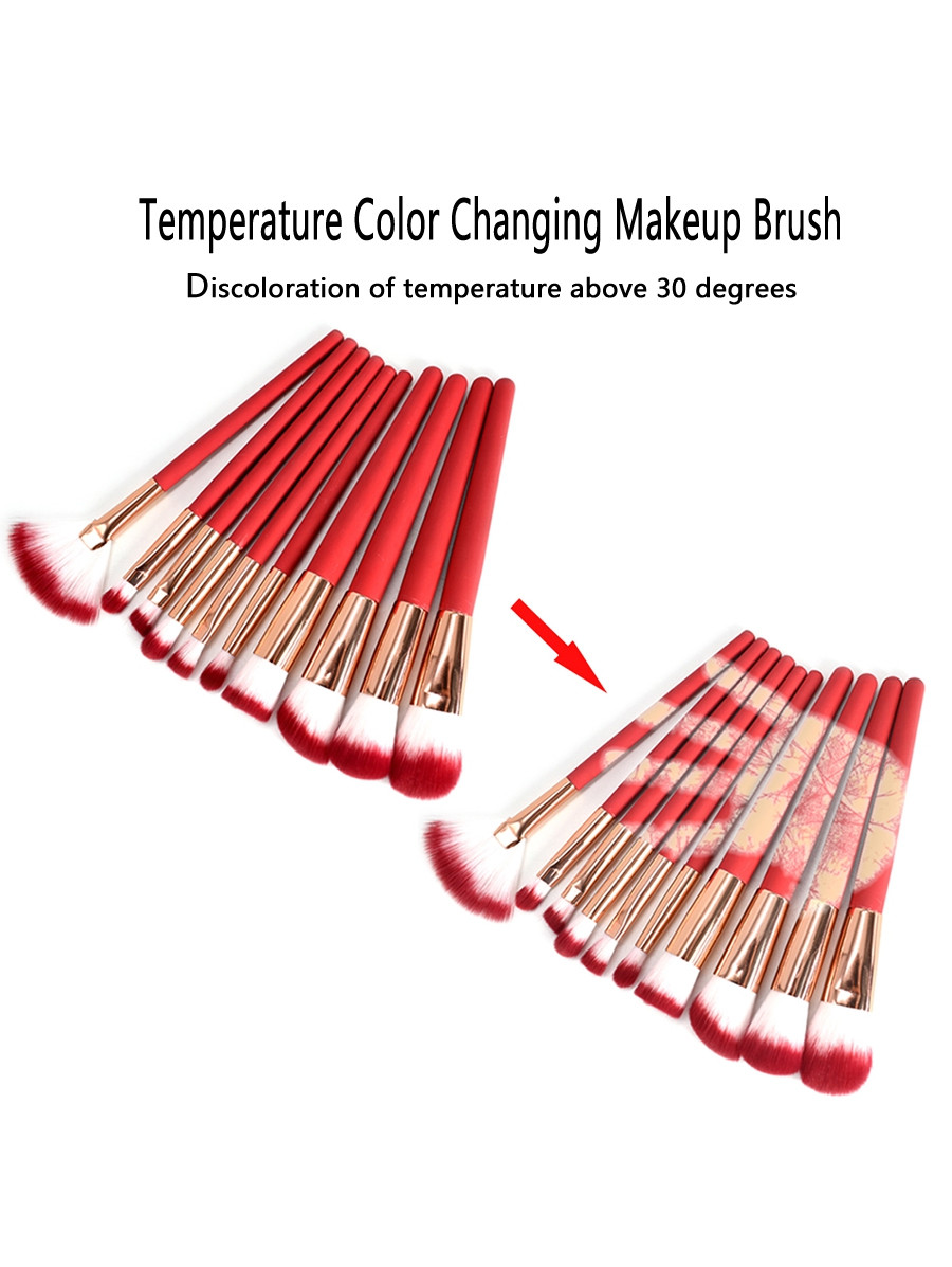 10Pcs Temperature Color Changing Fiber Hair Makeup Brush Set RED