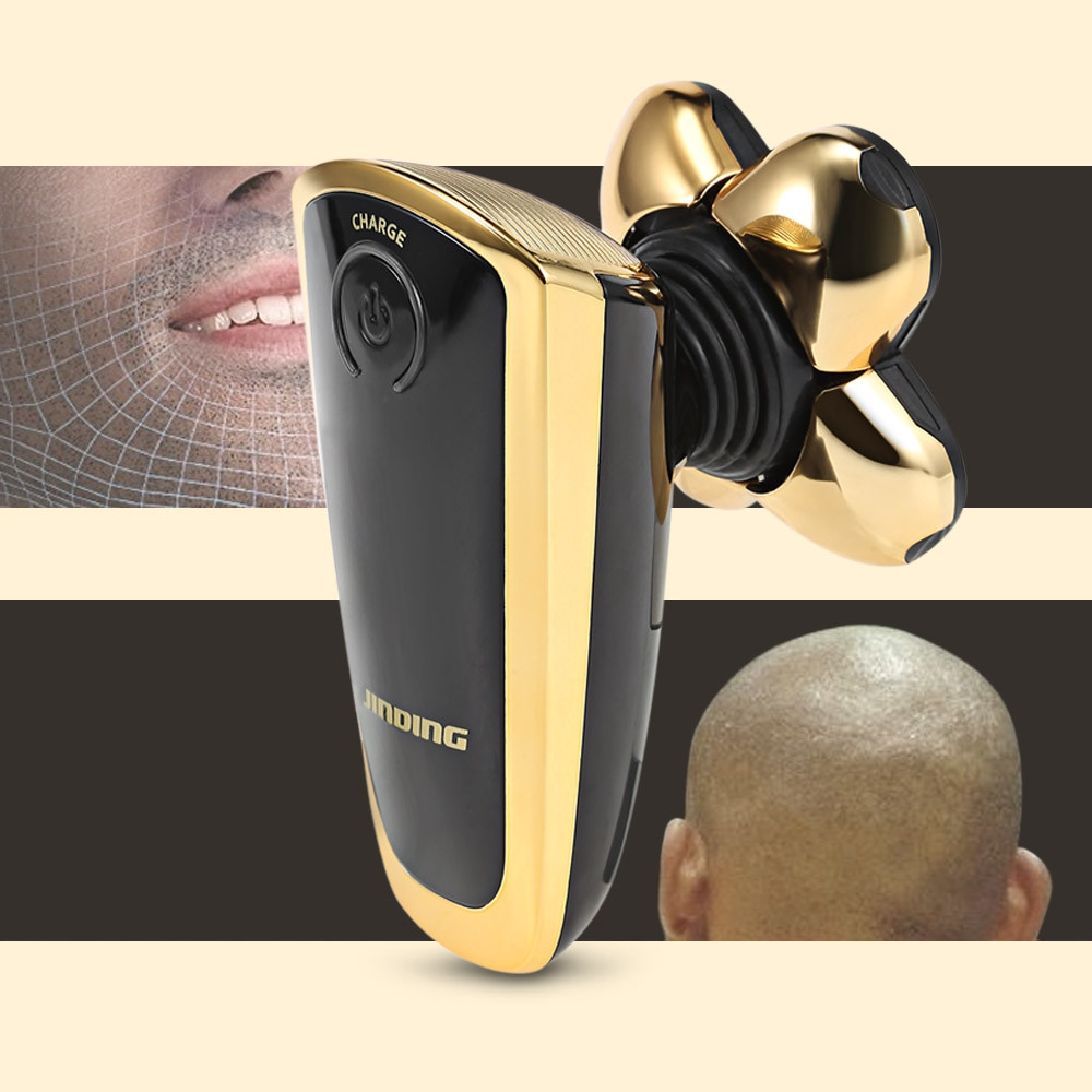 JINDING Electric Shaver Razor Men Head Polish Hair Trimmer GOLD