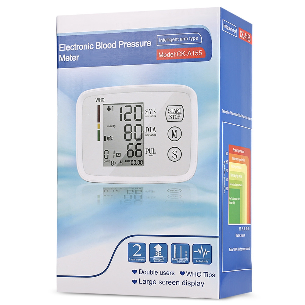CHANGKUN CK - A155 Arm Health Care Blood Pressure Meter Heart Beat Monitor WARM WHITE