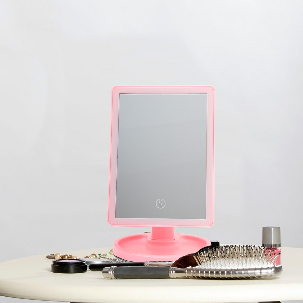 Touch Screen LED Desktop Makeup Mirror with Round Base Plate PINK