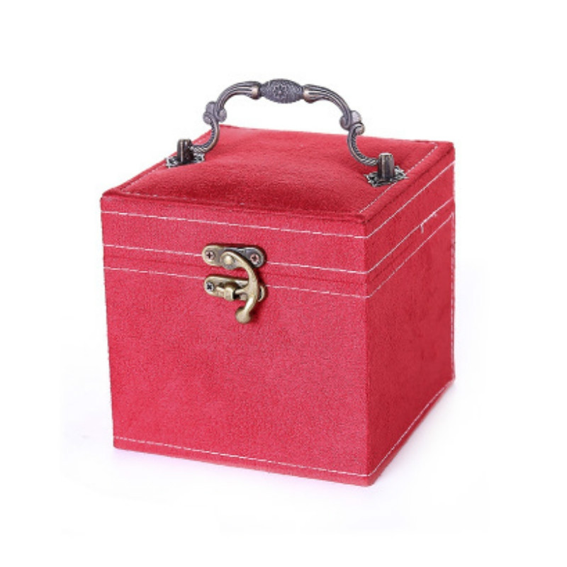 Three Layers Flannel Jewelry Display Portable Cosmetic Box RED
