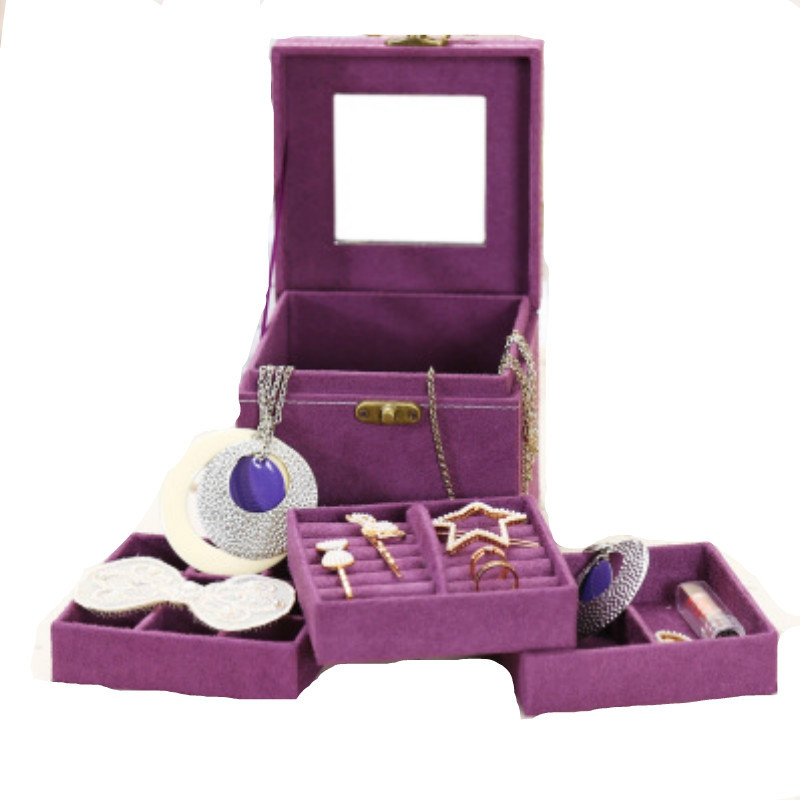 Three Layers Flannel Jewelry Display Portable Cosmetic Box DARK ORCHID