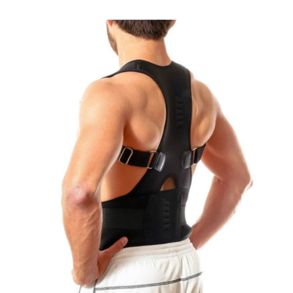 Male Female Adjustable Magnetic Posture Corrector Corset BLACK