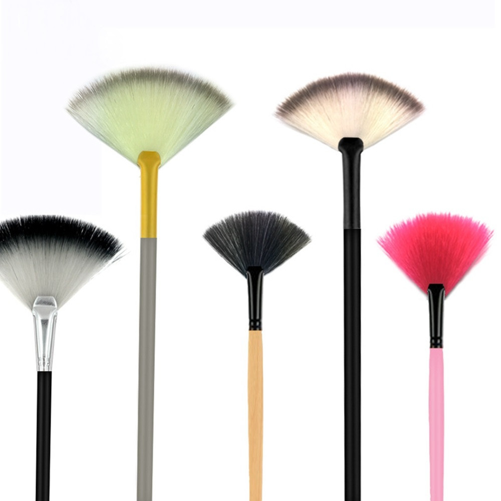 1Pc Fan Powder Concealer Mixed Finishing Highlighter Makeup Art Brush Beauty ORIGINAL WOOD COLOR