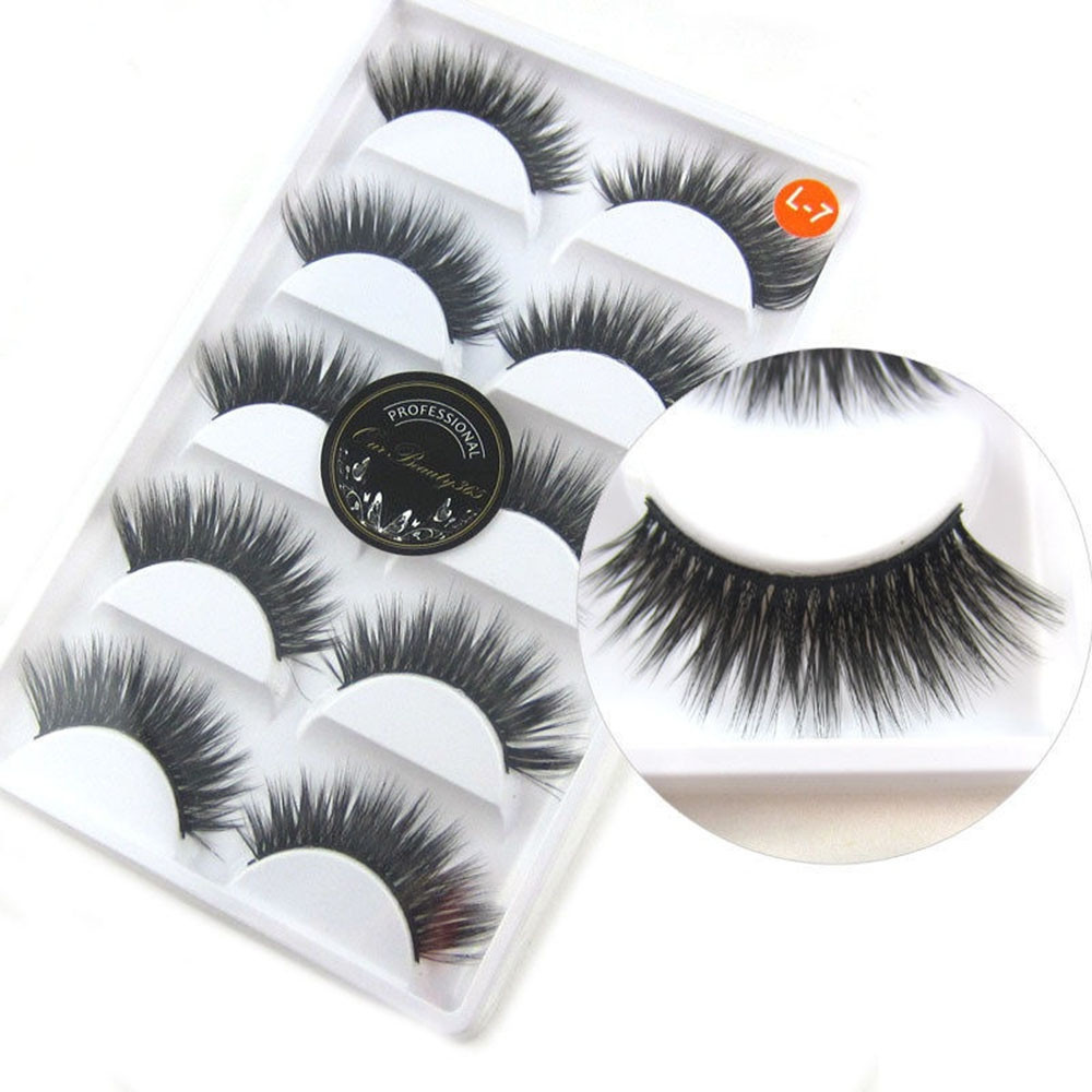 Luxurious 3D False Eyelashes Cross Natural Long Eye Lashes Makeup 10pcs BLACK