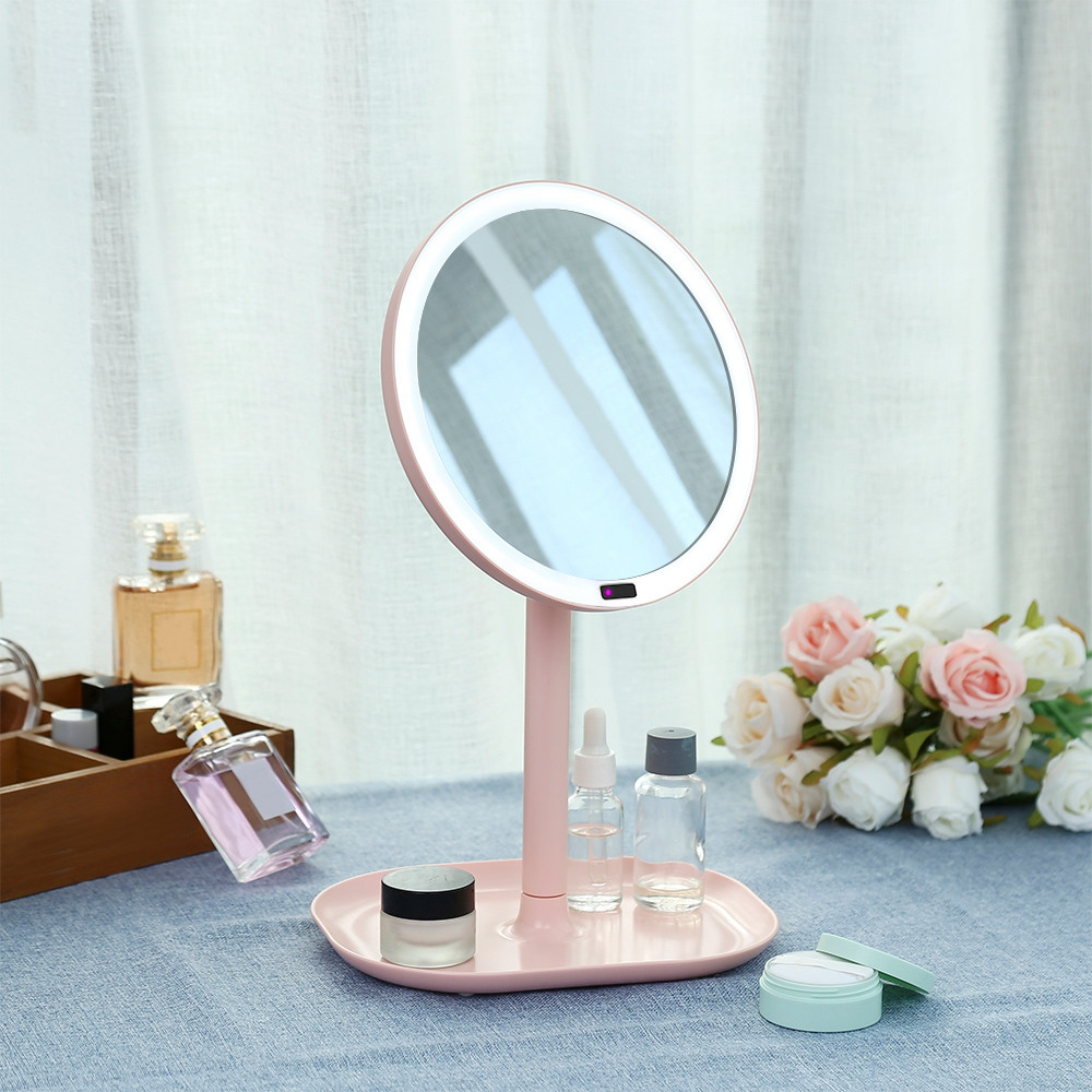 GUSTALA SK1611 Cosmetic Mirror with Infrared Intelligent Induction / 360-degree Rotation Perfect for Makeup PINK