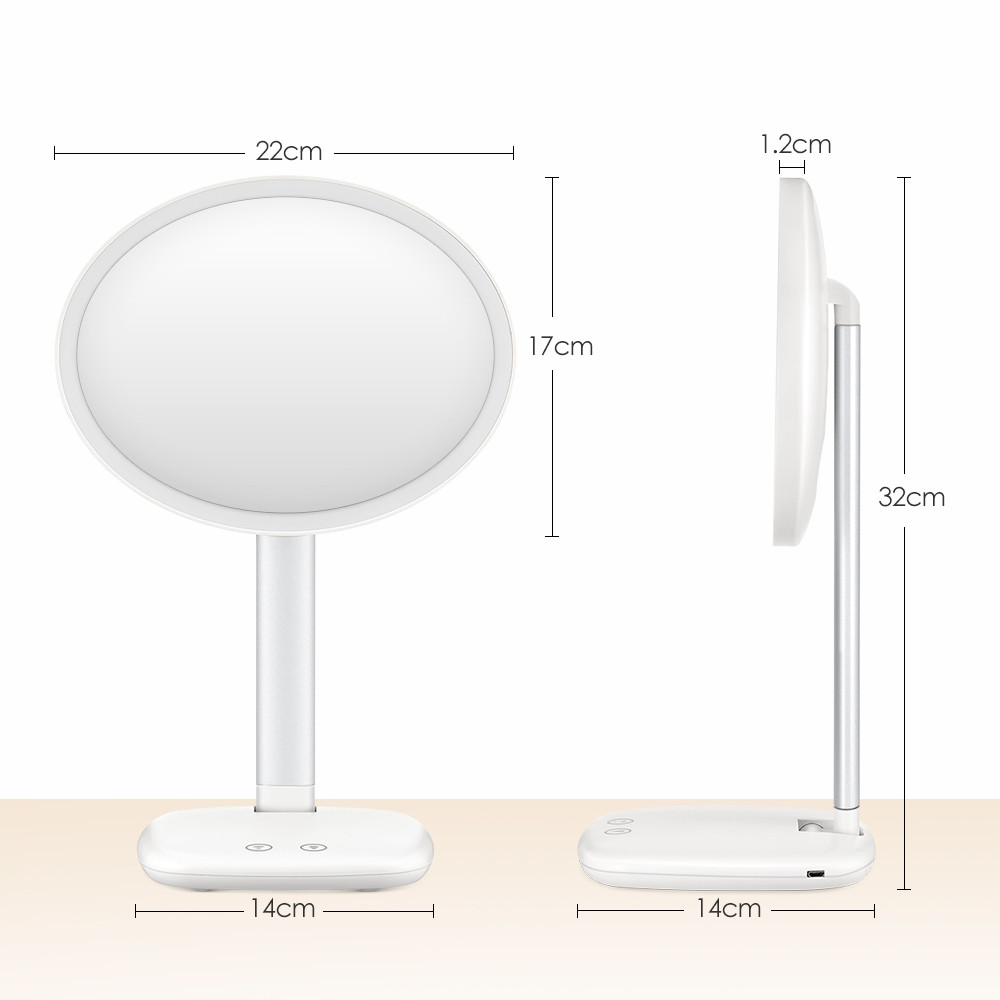 GUSTALA SK1802 2 in 1 Cosmetic Mirror 105-degree Rotation Sensitive Touch Control with LED Makeup Light / Table Lamp WHITE