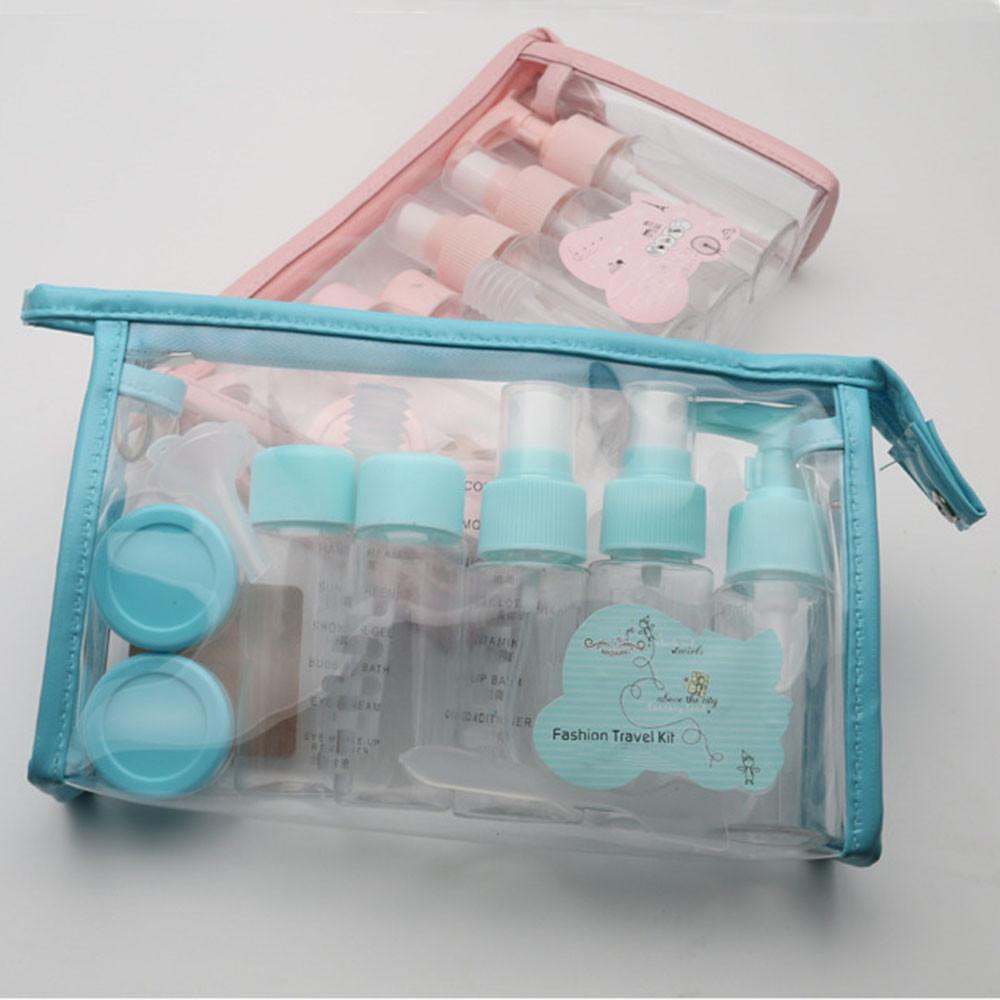 Travel Cosmetics Sub-Bottle Portable 10 Piece Set Refillable Bottles BLUE 10 PIECE SET