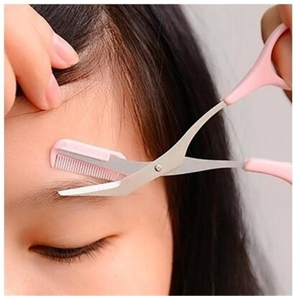 Multifunctional Eyebrow Comb Trimming Scissors Makeup Tools PINK