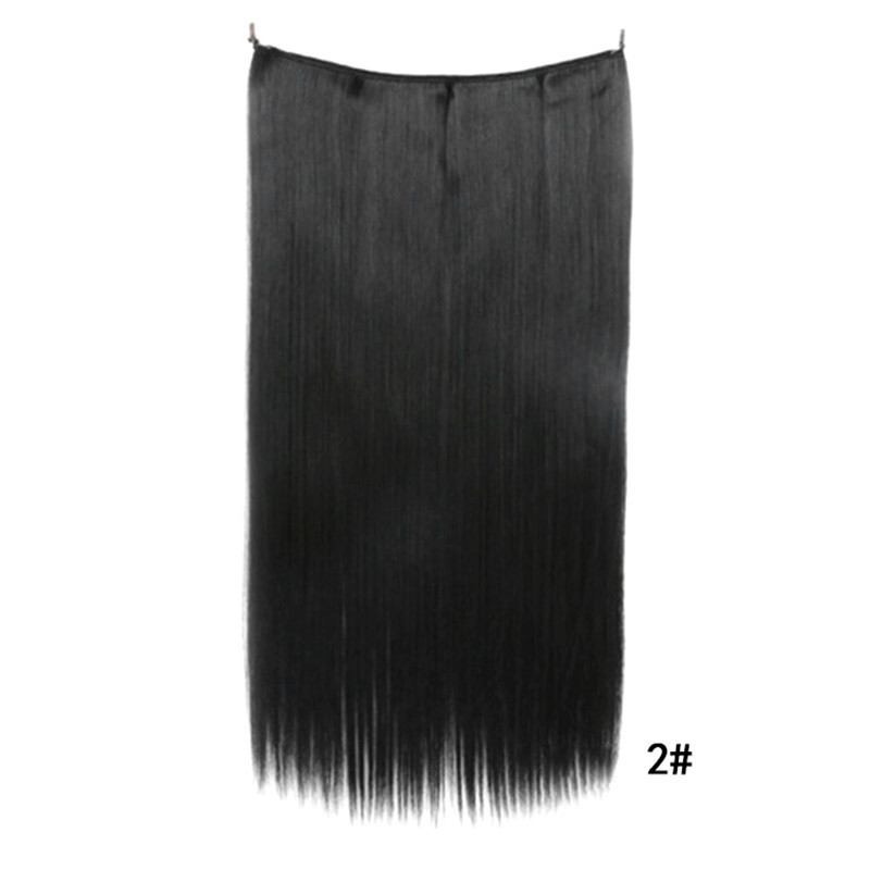 Long Straight Hair Extension Without Clip Fish Line Synthetic Wig #003