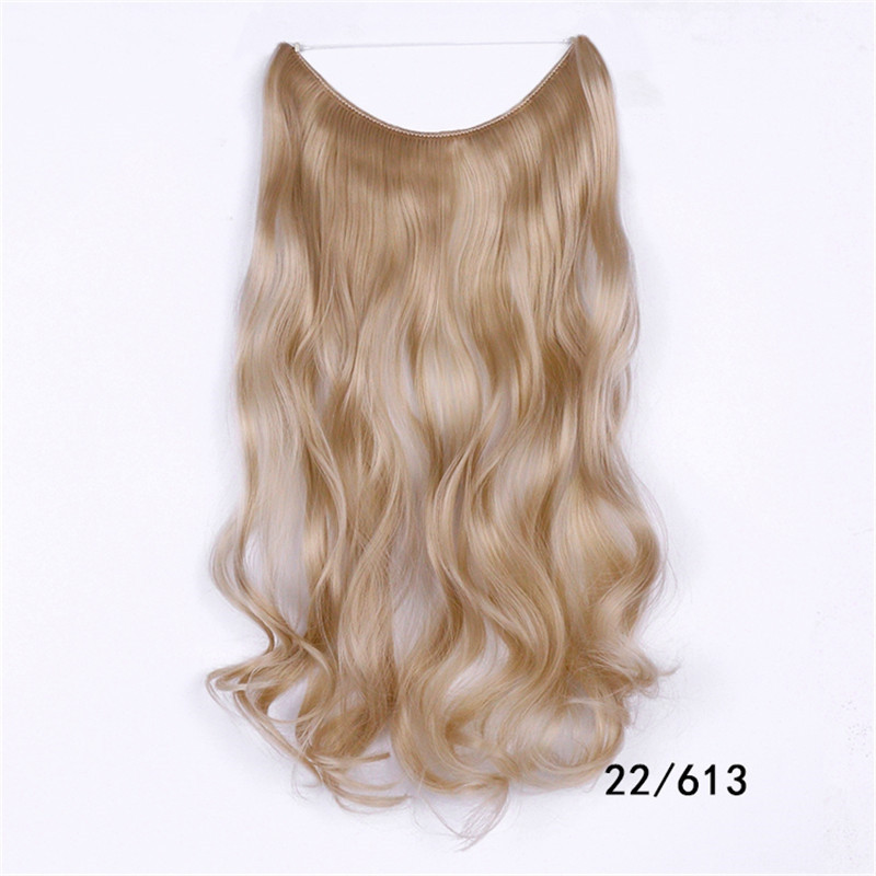 Long Wave Hair Extension Without Clip Fish Line Color Mixing Synthetic Wig #011