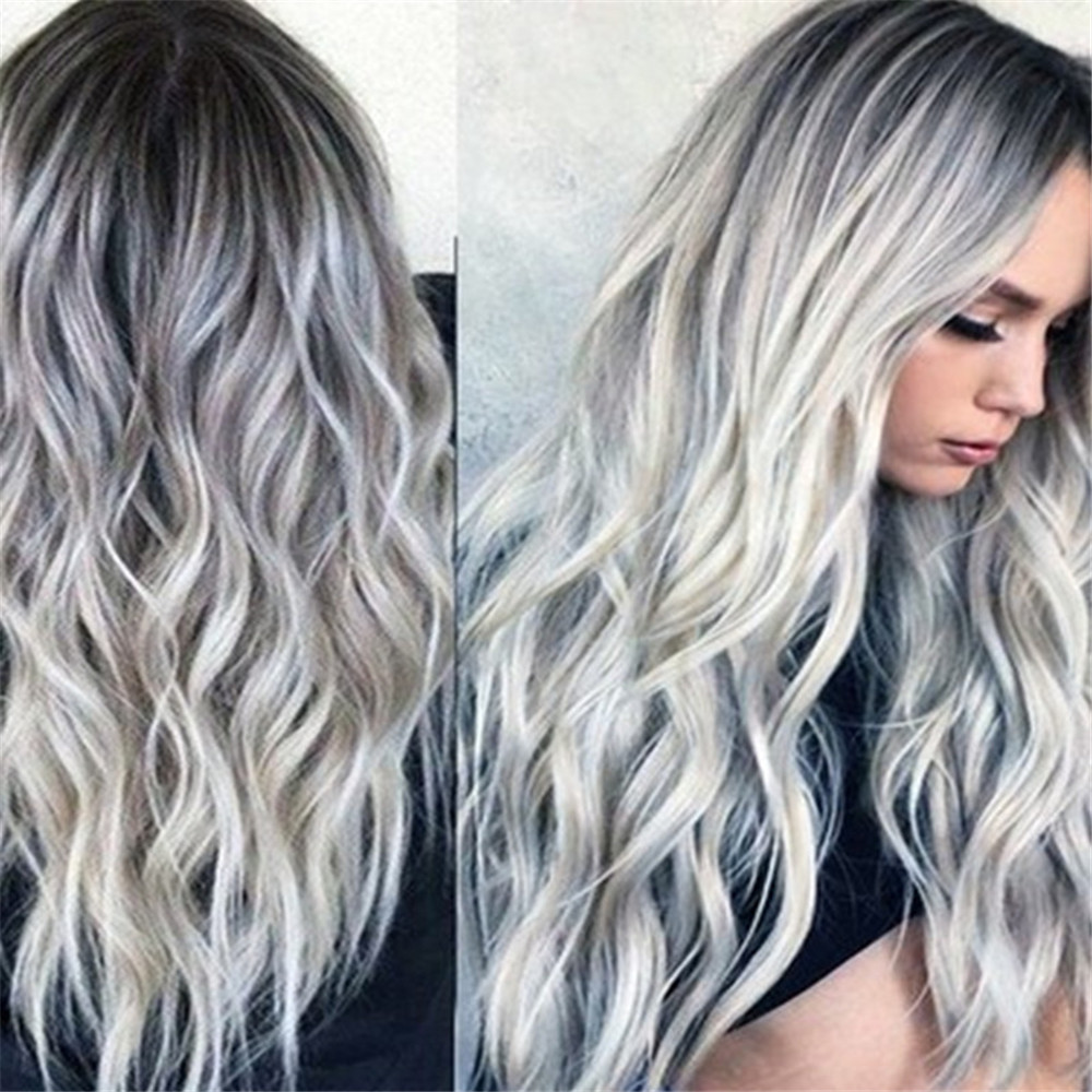 Bleaching Dyed Long Curly Hair COS Gray Gradient Female Chemical Fiber Hood MULTI-A 28 X 17 X 5CM