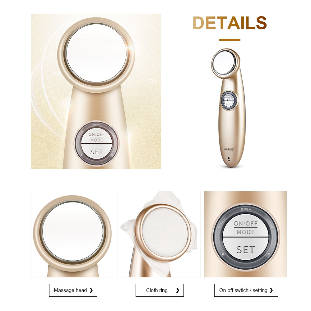 K_SKIN KINGDOMCARES KD9930 Facial Thermostat Beauty Introduction Instrument Face Cleansing Massager CHAMPAGNE GOLD