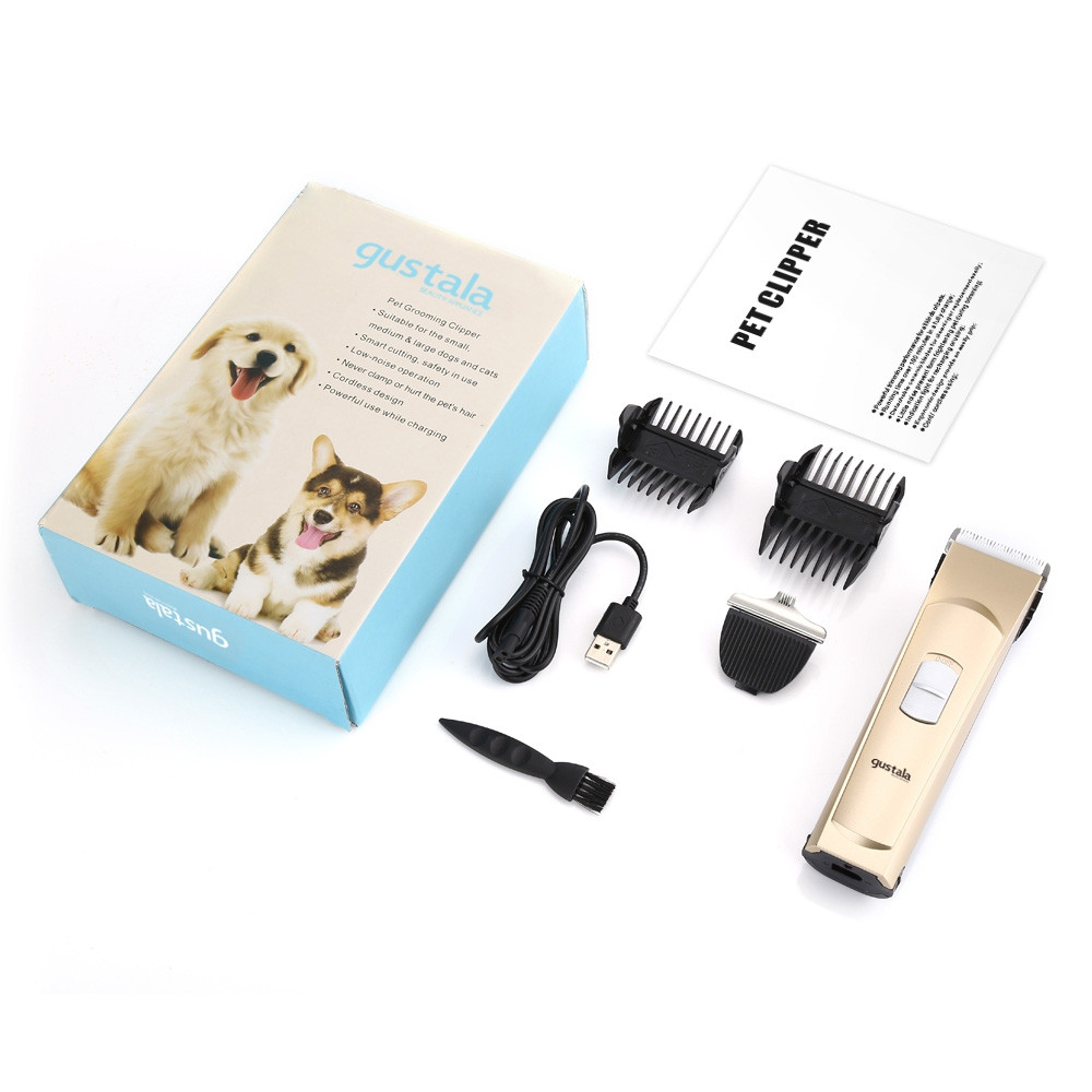 gustala X2 Electric Pet Grooming Clipper Double-head Application Cordless Hair Trimmer for Dogs / Cats GOLDEN BROWN