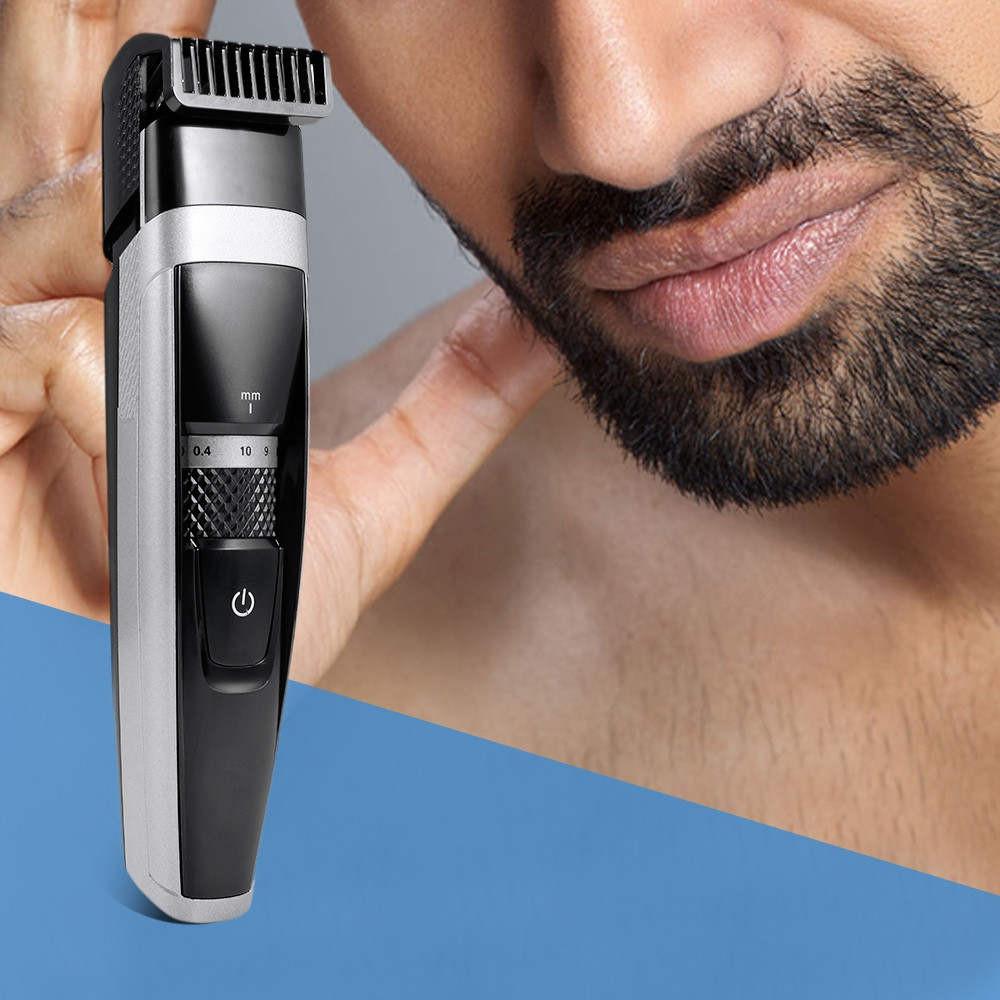 2 in 1 USB Rechargeable Men Water Resistant Beard Trimmer Electric Shaver Razor BLACK