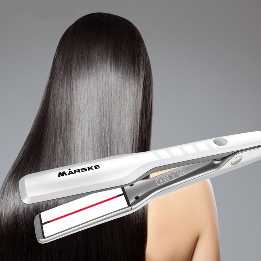 MARSKE 2 in 1 5-speed Thermostat Ceramic Coating Hair Straightener WHITE US PLUG (2-PIN)