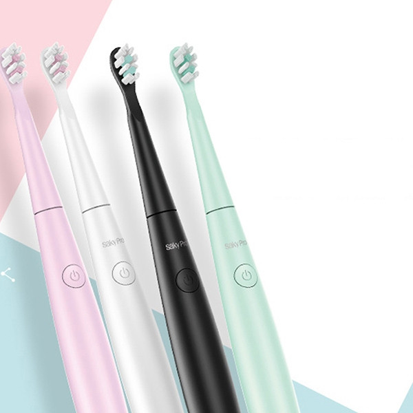Saky E1P Smart Waterproof Soft Hair Sonic Electric Rechargeable Toothbrush WHITE