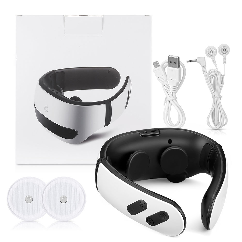 K_SKIN KD812 Voice Control Cervical Massager 6 Massage Modes 2 Electrode Patches for Spondylosis Treatment WHITE
