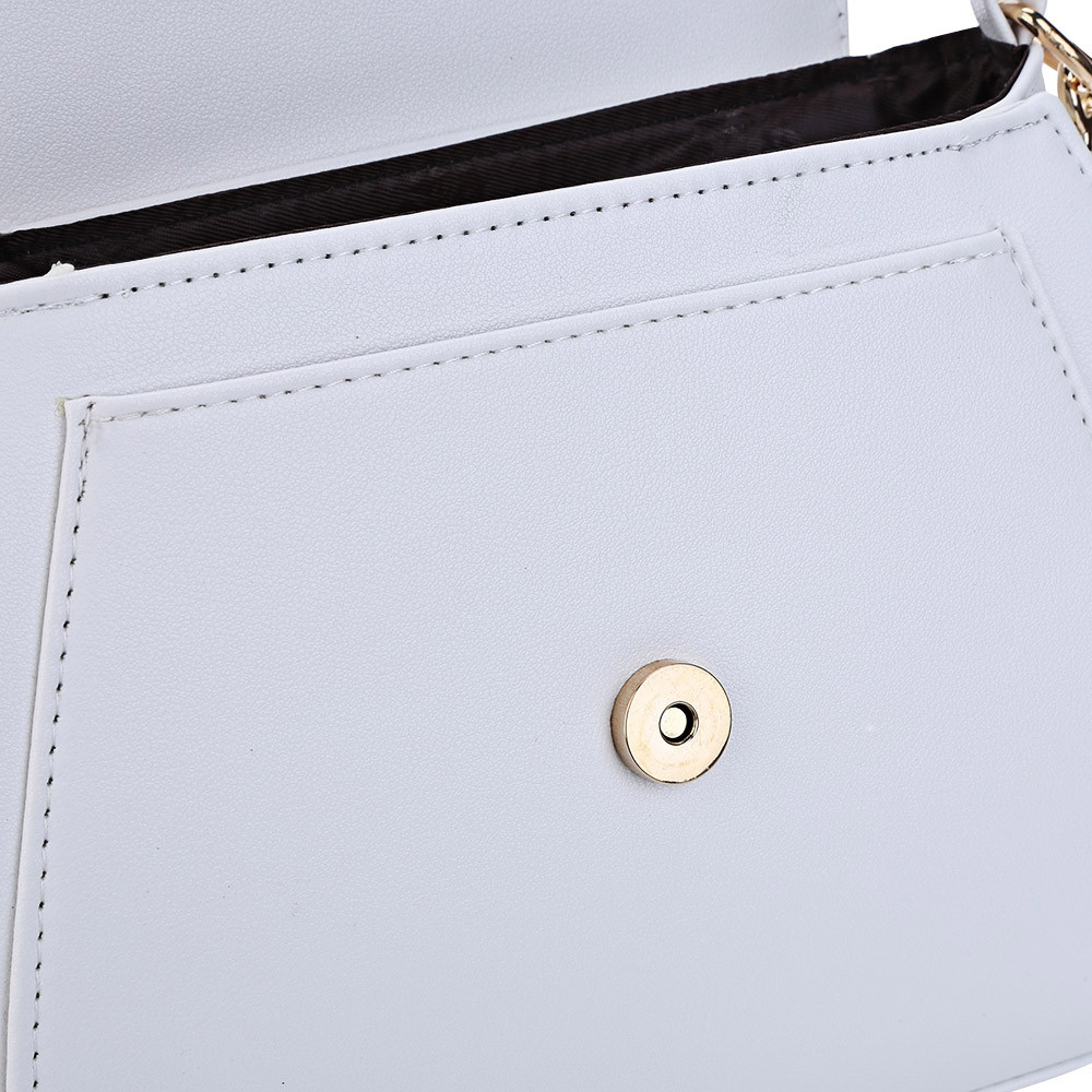Guapabien Cat Shape Crescent Detachable Strap Rivet Shoulder Messenger Bag for Women WHITE HORIZONTAL