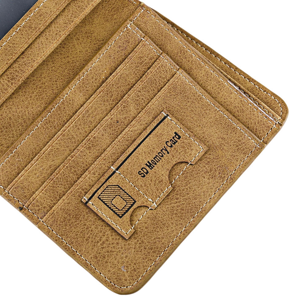Solid Color Letter Embellishment Dull Polish Open Vertical Wallet for Men COFFEE VERTICAL