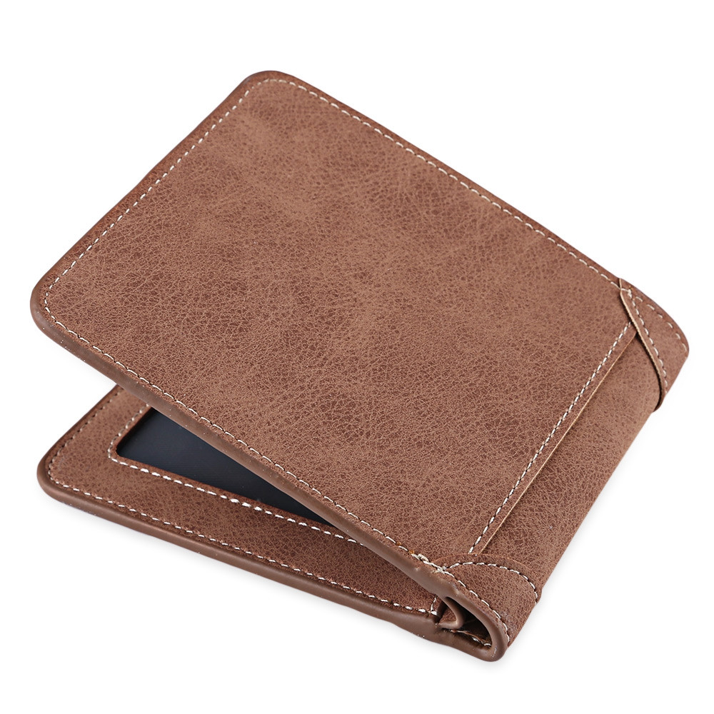 Solid Color Letter Embellishment Dull Polish Open Vertical Wallet for Men COFFEE HORIZONTAL