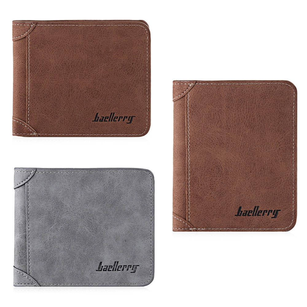 Solid Color Letter Embellishment Dull Polish Open Vertical Wallet for Men GRAY HORIZONTAL