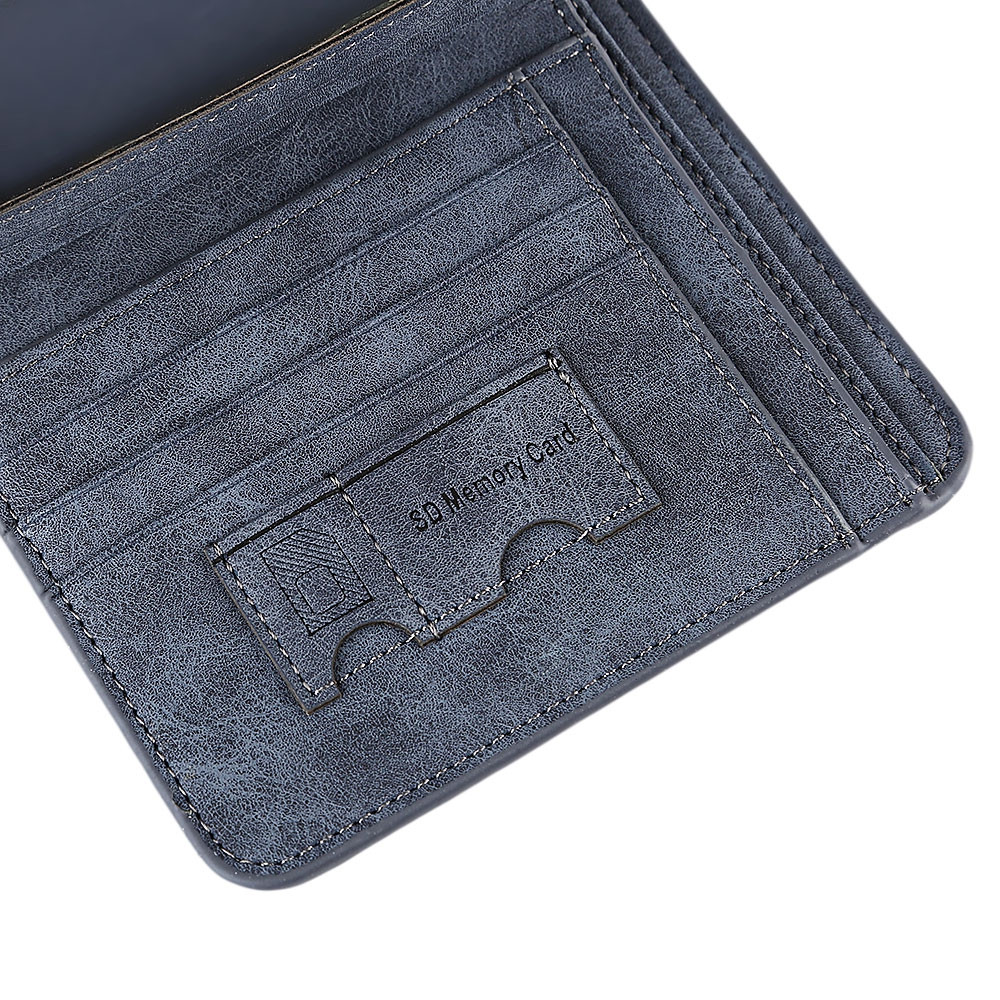 Solid Color Letter Embellishment Dull Polish Open Vertical Wallet for Men BLUE VERTICAL