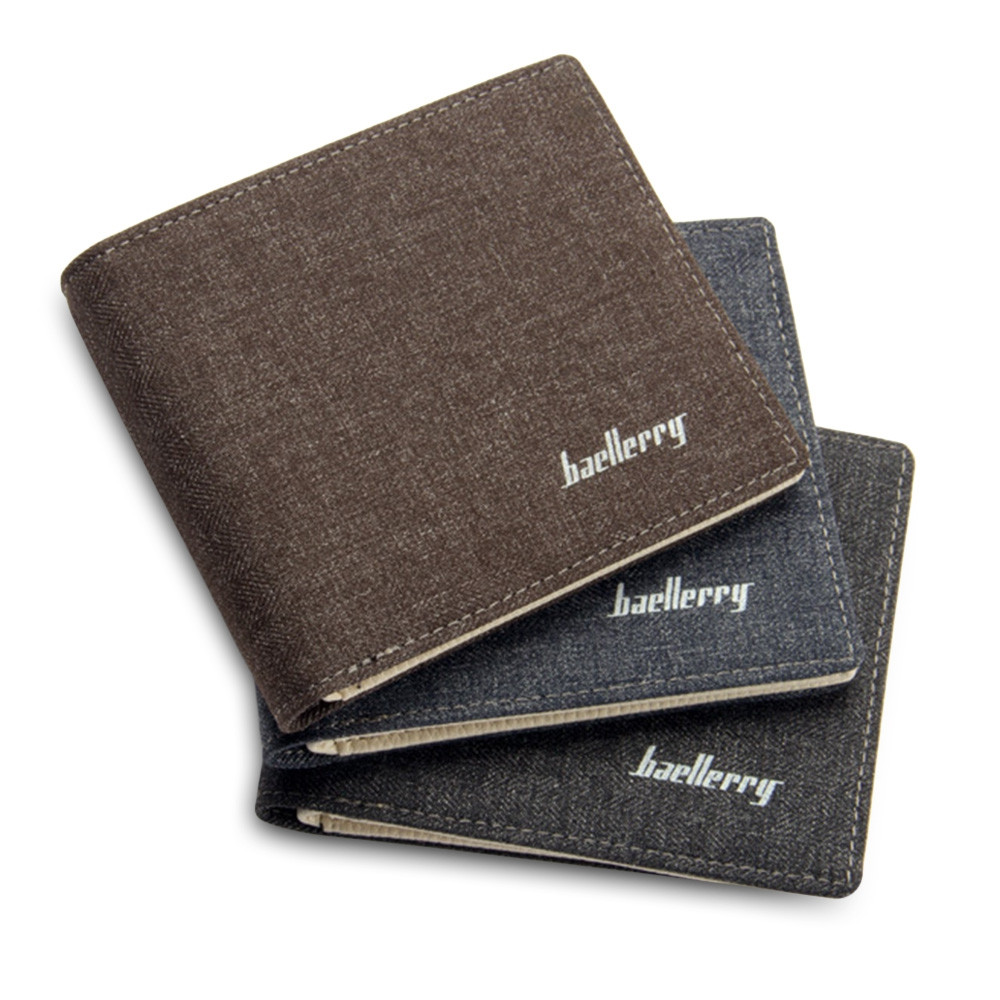 Baellerry Slim Coin Money Card Holder Canvas Pocket Men Wallet BLACK
