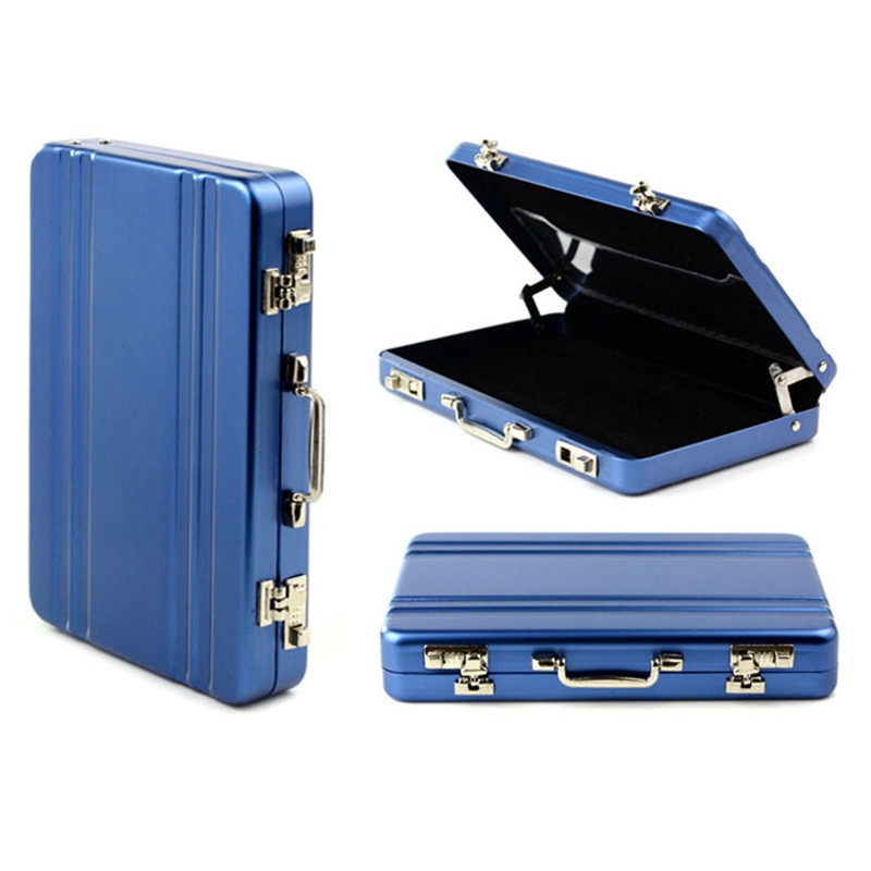 Mini Aluminum Safe Suitcase Briefcase Business Credit Bank Card Holder Box Case BLUE